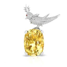 """0.97CT Yellow cushion with round brilliant cut natural diamond """"Bird on a Rock"""" brooch"""