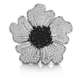 3.46CT Black with round brilliant cut natural diamond pave set flower inspired brooch