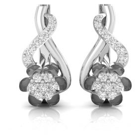 Febee 0.31ct round brilliant cut natural diamond floral clip earring for women