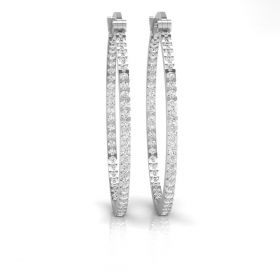Remy 4.49ct round brilliant cut natural diamond in-out hoop earrings for women