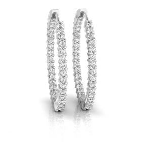 Roca 1.65ct round brilliant cut natural inside-out diamond hoop earrings