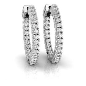 Syna 2.20ct round brilliant cut natural diamond in-out hoop earrings