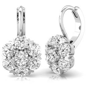 2.23Ct Round brilliant cut natural diamond cluster set leverback  earrings