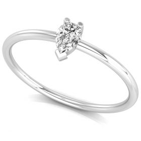 0.25CT White pear cut natural diamond dainty solitaire promise ring