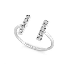 0.14CT Two Bar Open Parallel Lab Grown Diamond Open Gap Ring For Women