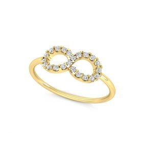 0.13CT Women's Round 14K Gold Mary Infinity Lab Grown Real Diamond Ring