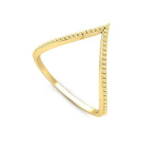 10K Solid Gold Dotted Band V Shape Simple Daily Wear Women Ring