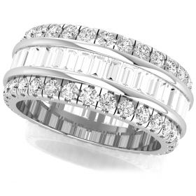 2.54Ct baguette with round brilliant cut natural diamond full eternity band for women's