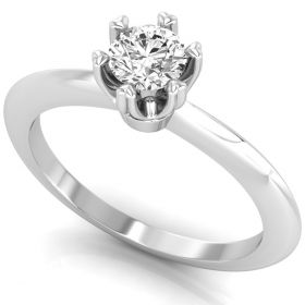 0.30CT Round brilliant cut natural solitaire diamond 6 heart prong set ring