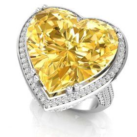 18.41CT Yellow heart with round brilliant cut natural diamond halo set gemstone ring