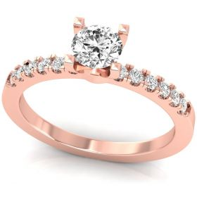 0.47CT round brilliant cut lab grown diamond cut solitaire with accents ring for women