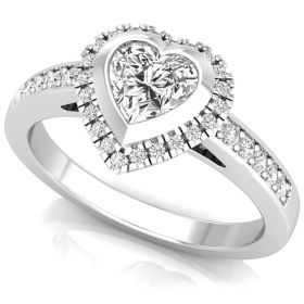 0.84Ct Heart with round brilliant cut natural diamond valentine proposal gift