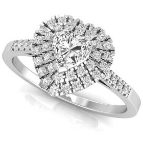 0.65CT Round brilliant cut natural diamond double halo heart ring for women