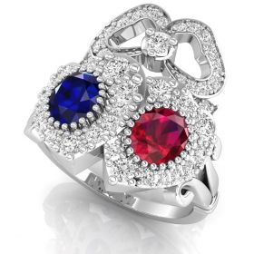 2.31CT Multi color round brilliant cut natural diamond fancy heart with bow ring