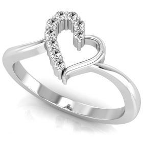 0.10Ct Round brilliant cut natural diamond fancy heart promise ring