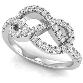 0.64Ct Round brilliant cut natural diamond trendy curve daily wear ring
