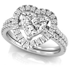 1.80Ct Heart with round brilliant cut natural diamond solitaire with accents valentine ring