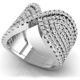 Classic 2.19Ct round brilliant cut natural diamond twist look fancy ring for women