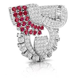 7.02CT Pink with round brilliant cut natural diamond iconic brooch gold jewelry