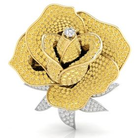 1.72CT Yellow with round brilliant cut natural diamond pave set flower brooch