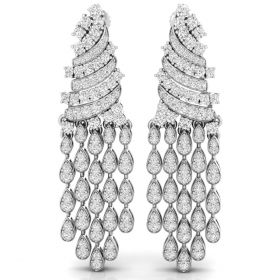 3.36CT Round brilliant cut natural diamond long chandelier earrings