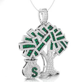 White & green round brilliant cut natural iced out diamond dollar money bag tree pendant