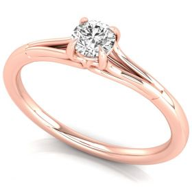 0.25CT round brilliant cut lab grown diamond solitaire prong set proposal ring for her