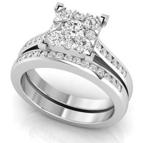 1.20Ct Round brilliant cut natural diamond cluster accents ring set