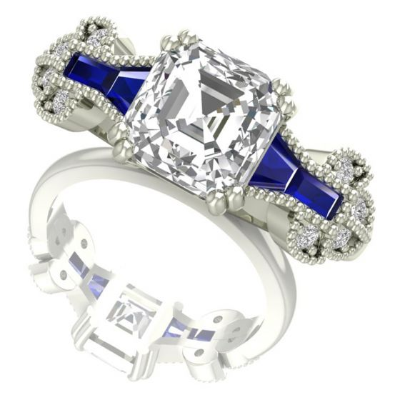 Asscher Cut Real Diamond Ring Design by Shanti Jewel Online Jewelry Store