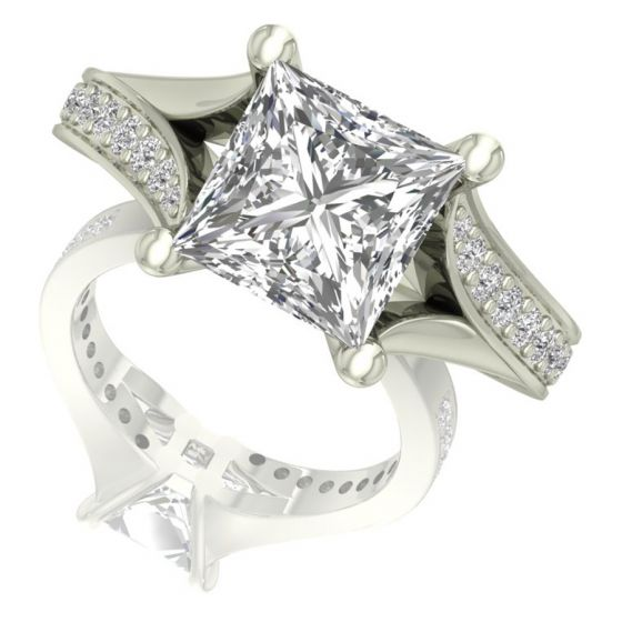 Princess Cut Real Diamond Ring Design by Shanti Jewel
