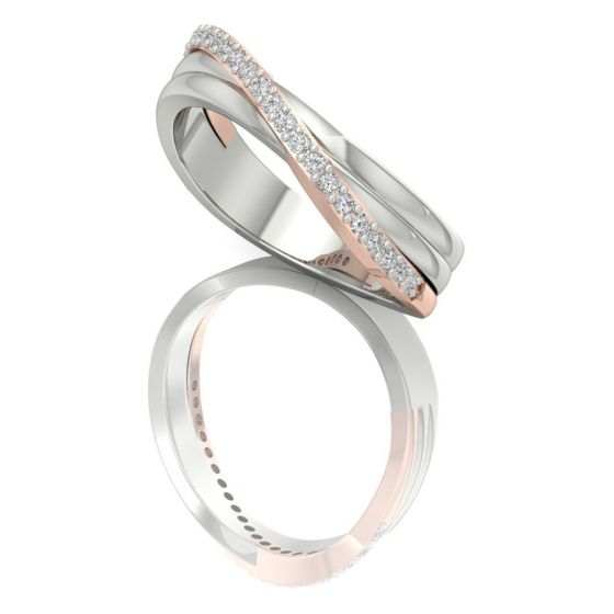 Buy twisted Two Tone Promise Diamond Ring Online Shopping Store US Australia Canada India