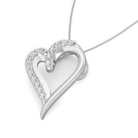 Midas heart 0.098ct diamond pendant