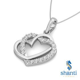 Trace 0.12ct twin heart pendant